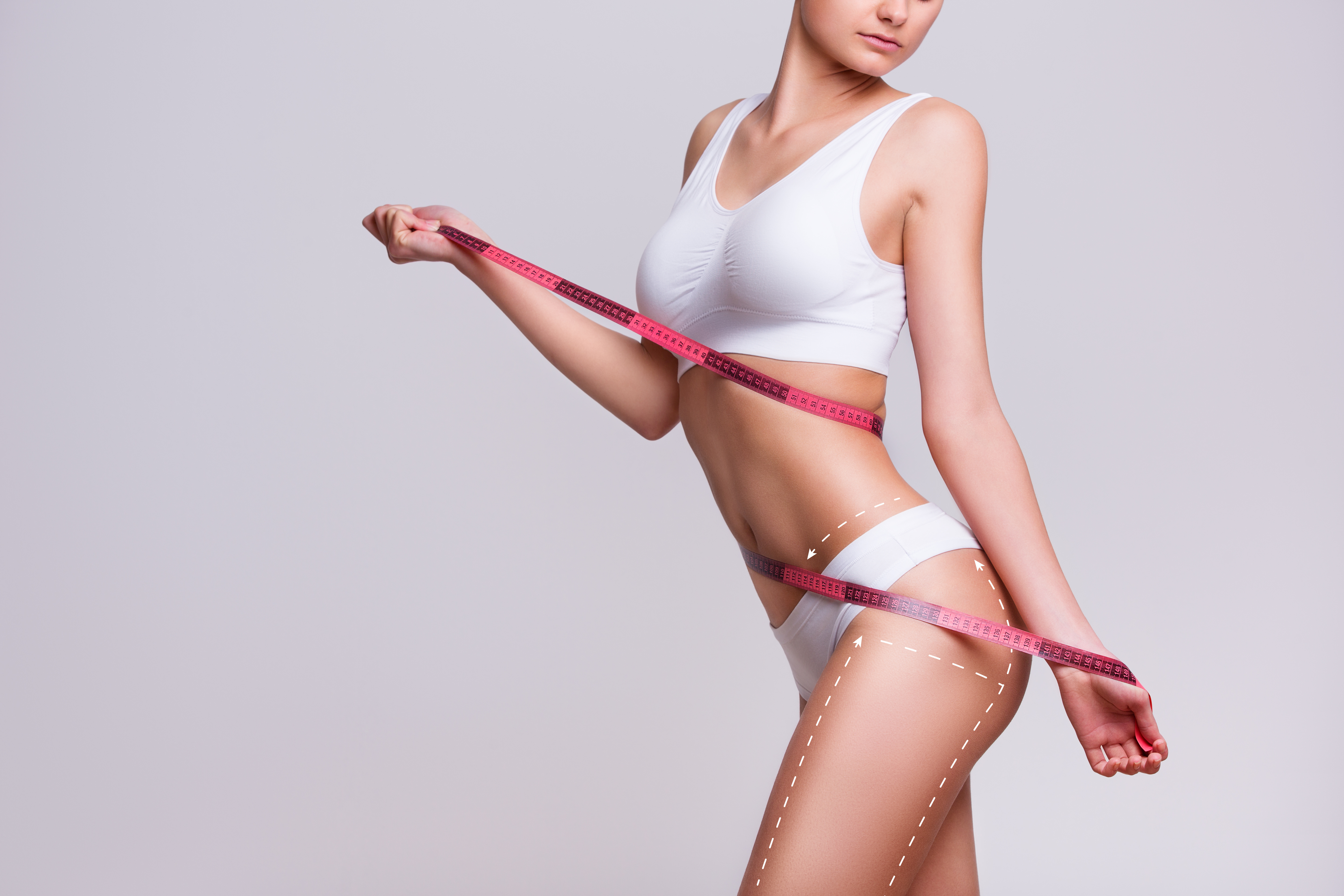 Female body cosmetic surgery and skin liposuction.